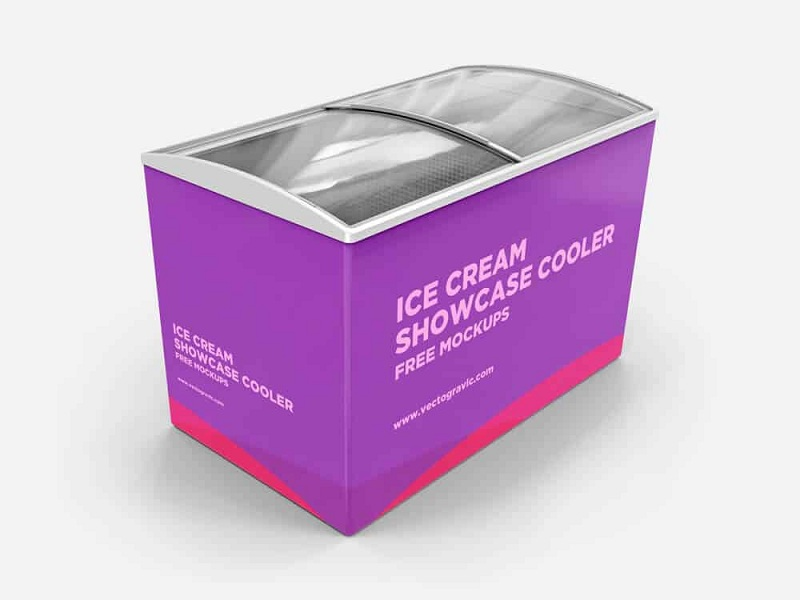 Ice Cream Showcase Cooler Free PSD